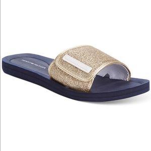 Tommy Hilfiger gold slides Flip Flops sandals 8